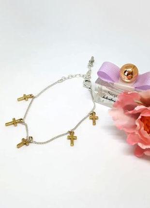 Браслет цепочка с золотыми крестиками pilgrim дания ювелирная бижутерия