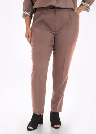 Женские классические коричневые однотонные брюки больших размеров (luzn)