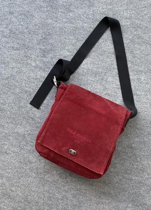 Большая вельветовая сумка polo jeans ralph lauren через плечо