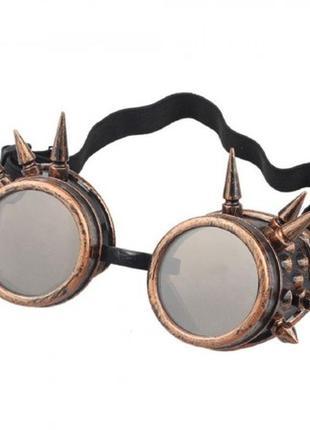 Очки стимпанк гогглы бронзового цвета с шипами