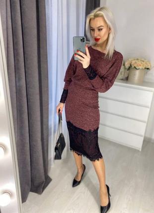 Женский костюм юбочный теплый ангоровый с декоративным кружевом юбка обтягивающая