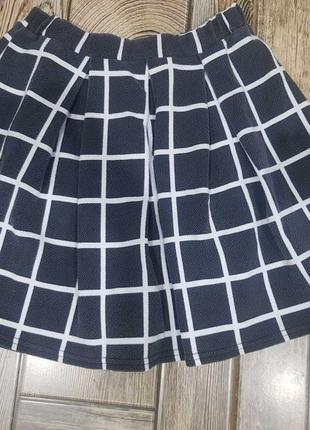 Стильная юбка в клетку, короткая юбка солнце2 фото