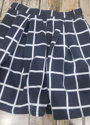 Стильная юбка в клетку, короткая юбка солнце1 фото