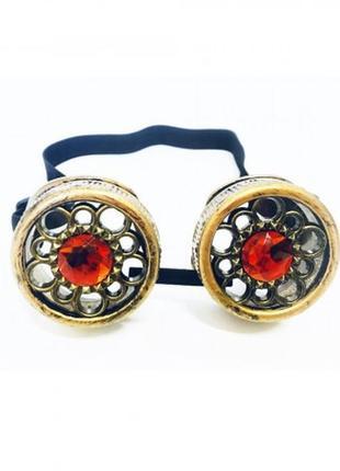 Очки в стиле стимпанк бронзового цвета с кристалами