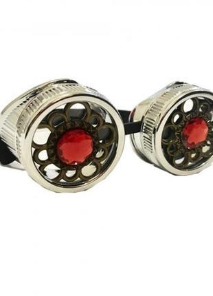 Очки стимпанк с кристаллами серебряного цвета
