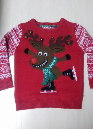 Новогодний свитер кофта реглан 4-5