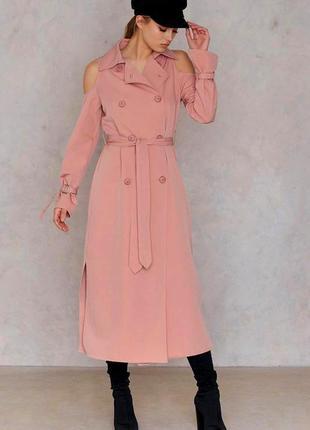 Плащ тренч платье-пальто shein c открытыми плечами c сайта asos