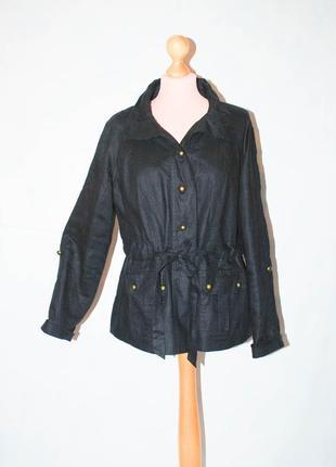 Льняная куртка ветровка парка на подкладке демисезонная приталенная с поясом
