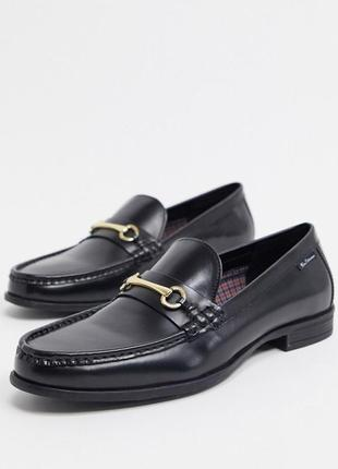 Кожаные туфли лоферы мокасины с пряжкой черные ben sherman стиль gucci prada hermes