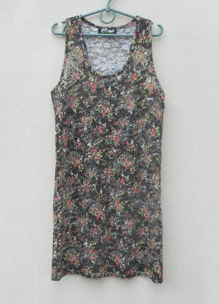 Кружевное летнее платье- туника пляжная без рукавов
