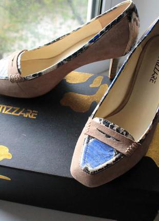 Замшевые туфли miraton (кожанные) на среднем каблуке