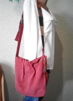 Замшевая двухцветная сумка vera pelle