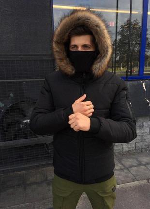 Зимняя теплая мужская куртка черная с капюшоном