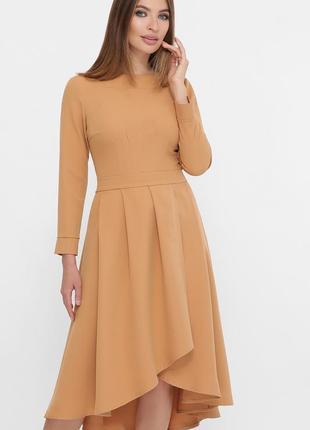 Красивое платье миди с креп-дайвинга песочного цвета ♡