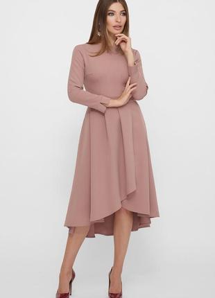 Красивое платье миди с креп-дайвинга цвета капучино ♡