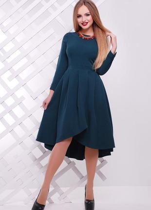 Красивое платье миди с креп-дайвинга изумрудного цвета ♡