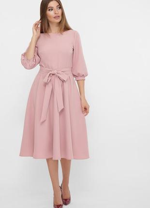 Платье миди рабия с креп-дайвинга цвета пудры ♡