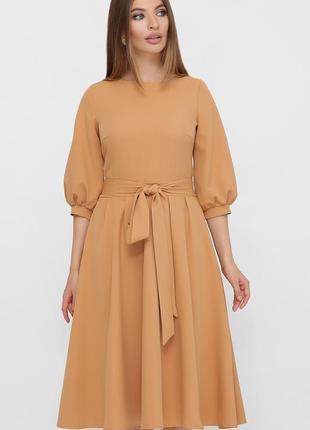 Платье миди рабия с креп-дайвинга песочного цвета ♡