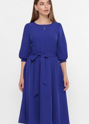 Платье миди рабия с креп-дайвинга королевский синий цвет ♡