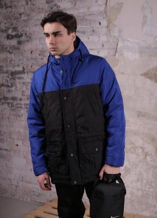 Комплект парка найк сине-черная+штаны теплые+барсетка и перчатки в подарок!