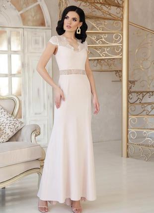 Роскошное нежное кремовое шампань бежевое длинное вечернее платье в пол с кружевом
