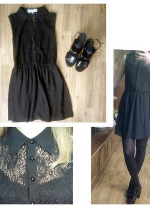 Короткое черное нежное платье с гепюром и воротником bershka