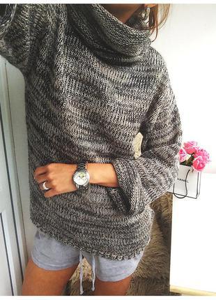 Стильный меланжевый пуловер / свитер нежной вязки с объемным воротом от h&m