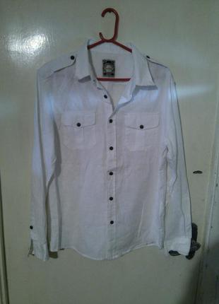 Натуральная,стильная,белая,льняная рубашка cedarwood state