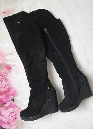 Зимові замшеві чоботи ботфорди майже нові