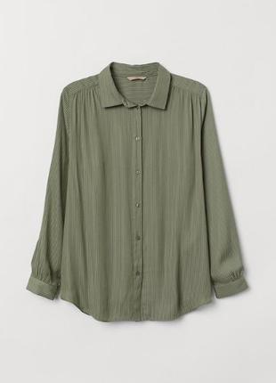 Скидки/много вещей в наличии💥оливковая хаки блуза рубашка в полоску h&m