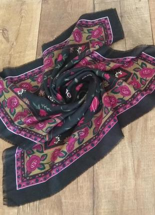Платок шарф шаль цветы женский