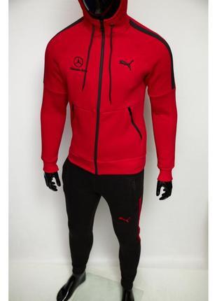 Костюм спортивный теплый в стиле pm mercedes 8344-601 красный с черным