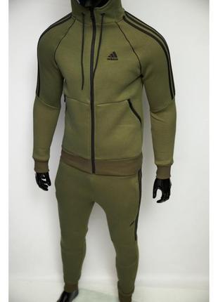 Костюм спортивный теплый в стиле adidas 8321-07 хаки
