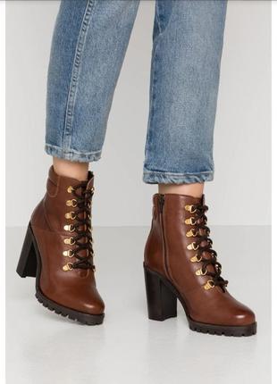 Кожаные ботинки на каблуке mint&berry,  размер 39