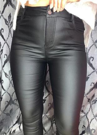 Новая модель😍 кожаные штаны с напылением эко кожи с высокой посадкой на тонком флисе