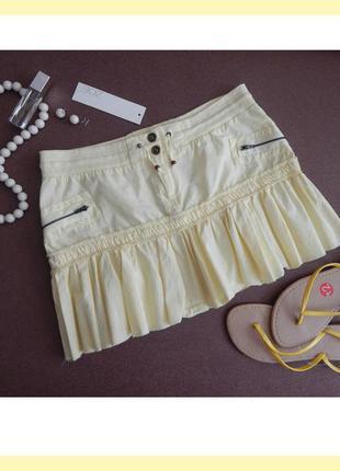 Акция!_легкая светлая мини юбка zoe - шнуровка, карманы, оборка