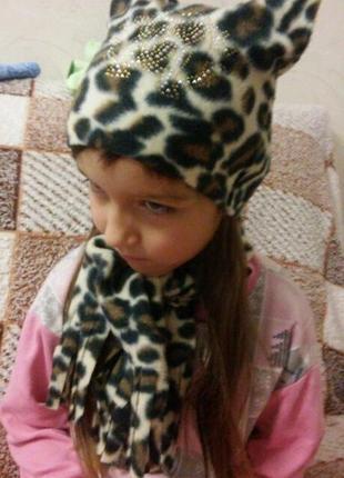 Отличный комплект на девочку шапочка+шарфик.