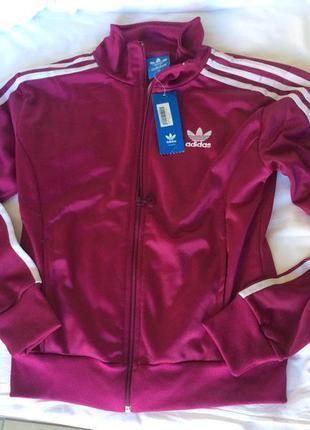 Новая фирменная кофта adidas олимпийка женская курточка бордовая марсала
