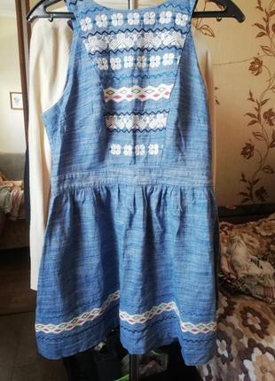 Джинсовое платье с вышивкой, сарафан