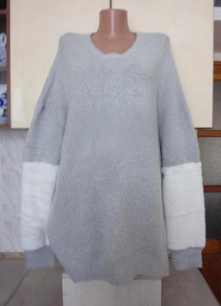 Новый стильный свитшот свитер джемпер мех оверсайз батал этикетка
