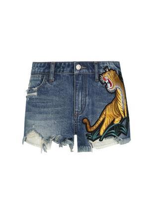 Стильные короткие джинсовые шорты с вышивкой тигра tally weijl 40 tiger