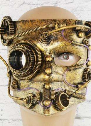 Костюм маскарадный стимпанк баута маска винтажная золотого цвета