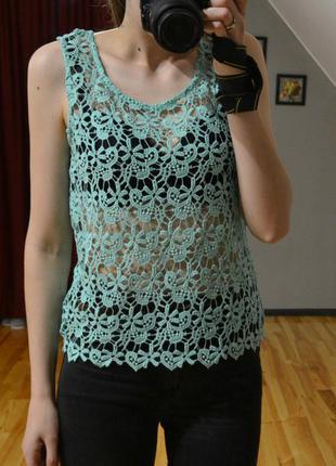 Ажурна (гипюрова) блузочка, ажурна прозора маєчка бірюзового кольору, розміри s, m, l