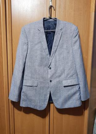Мужской серый пиджак в клетку, костюмный полушерстяной + лён, пиджак с мужского плеча