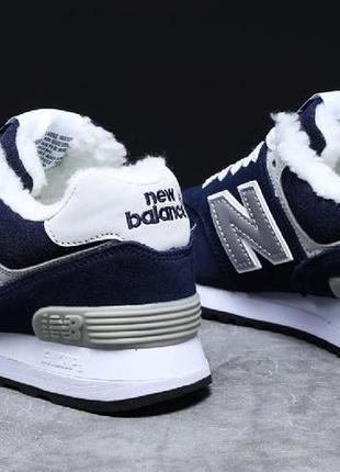► тёплые зимние замшевые кроссовки new balance, женские темно-синие   т7_31355