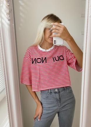 Полосатая оверсайз футболка с вышивкой, свитшот в полоску