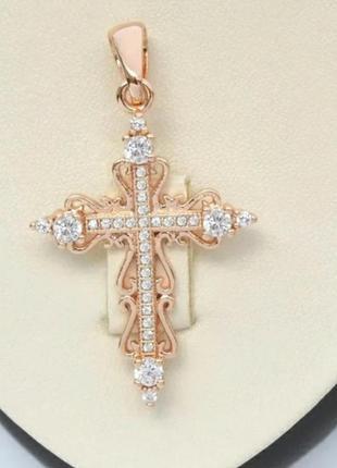 Крестик позолоченный.  крест. кулон