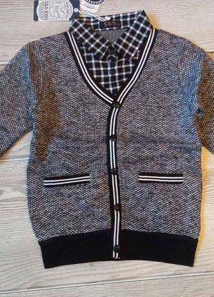 Детская кофта / свитер / обманка утепленная для мальчика венгрия s&d 158/164