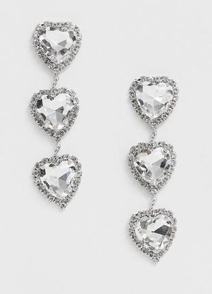 """💖 нарядные серьги-гвоздики с кристаллами """"сердечки"""" ashiana оригинал с сайта asos"""