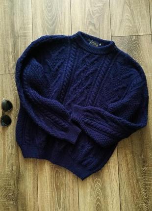 Acorn cтильный шерстяной свитер оверсайз рельефной вязки в косы, 100% pure new wool